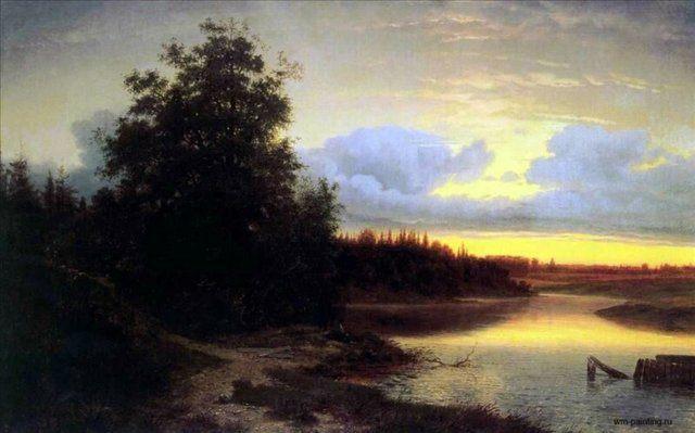Ночь на реке Мологе ::  Каменев  Л.Л. - Море в живописи ( морские пейзажи, seascapes ) фото