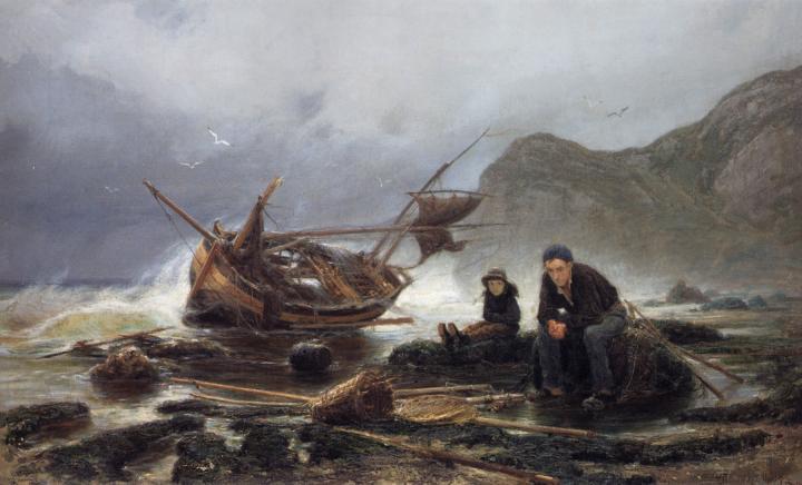 Море в Нормандии (разбитая рыбацкая лодка) ::  Савицкий К.А. - Море в живописи ( морские пейзажи, seascapes ) фото