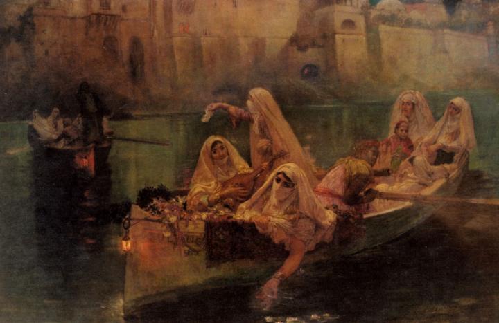картина Гарем в лодке :: Фредерик Артур Бридгман - Арабский восток фото