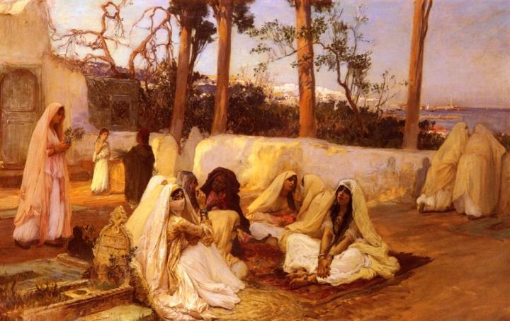 жанровая картина Алжир Женщины на кладбище :: Фредерик Артур Бридгман - Арабский восток фото