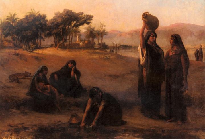 Женщины набирают воду из Нила :: Фредерик Артур Бридгман - Арабский восток фото
