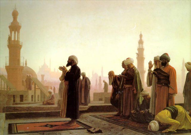 картина Молящиеся на крыше :: Жером Жан-Леон - Арабский восток фото