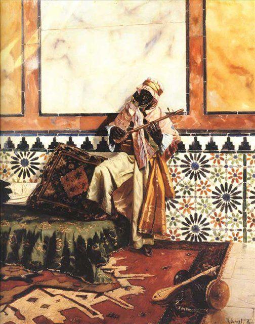 Музыкант в северо-африканском интерьере :: Рудольф Эрнст - Арабский восток фото