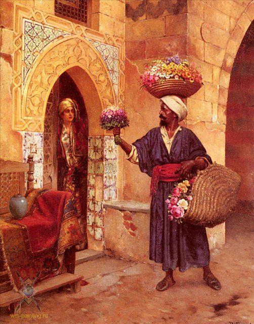 картина Торговец цветами :: Рудольф Эрнст - Арабский восток фото