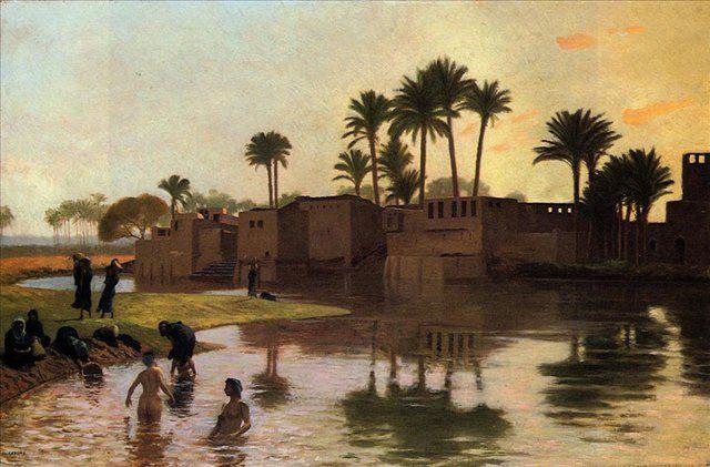 Купальщицы возле города :: Жером Жан-Леон ( Франция ) - Арабский восток фото