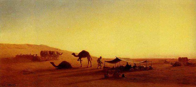 Пустыня лагерь арабов :: Чарльз Теодор Фрей  [ An Arab Encampment,  Charles Theodore Frere ] - Арабский восток фото