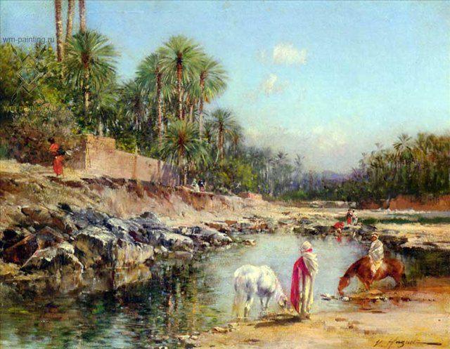 Путники возле реки :: Виктор Пьер Юге - Пейзаж ( пейзажная живопись ) фото