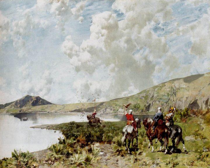 Соколиная охота :: Альберто Пасини [ The falconers ] - Пейзаж ( пейзажная живопись ) фото