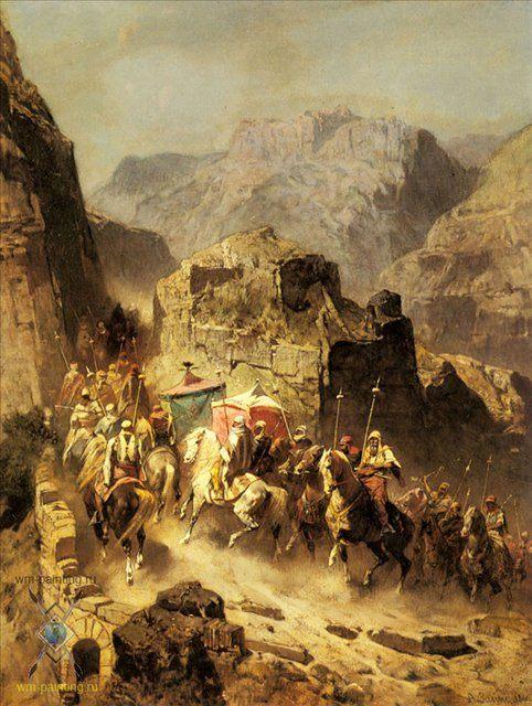 картина маслом Караван на перевале :: Альберто Пасини ( Италия ) - Арабский восток фото
