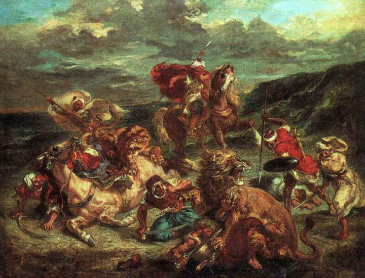 Охота на львов :: Делаукруа Эжен - Жанровые сцены фото
