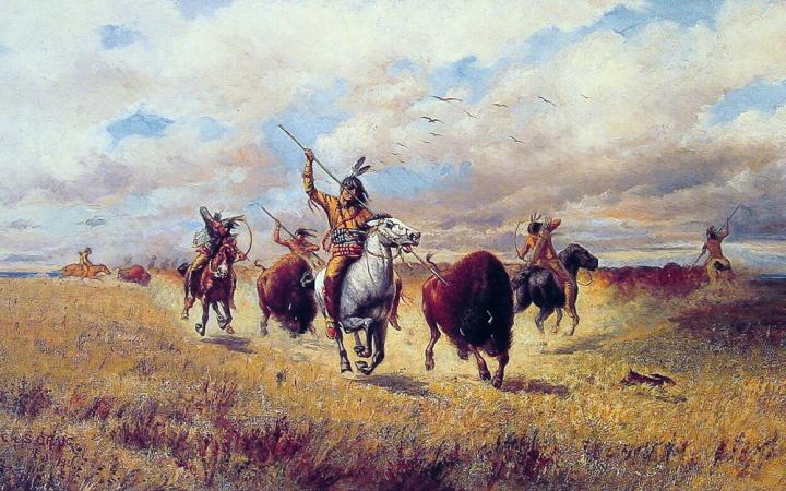 пейзаж Охота на бизона :: Чарльз Крейг ( США ) - Жанровые сцены фото