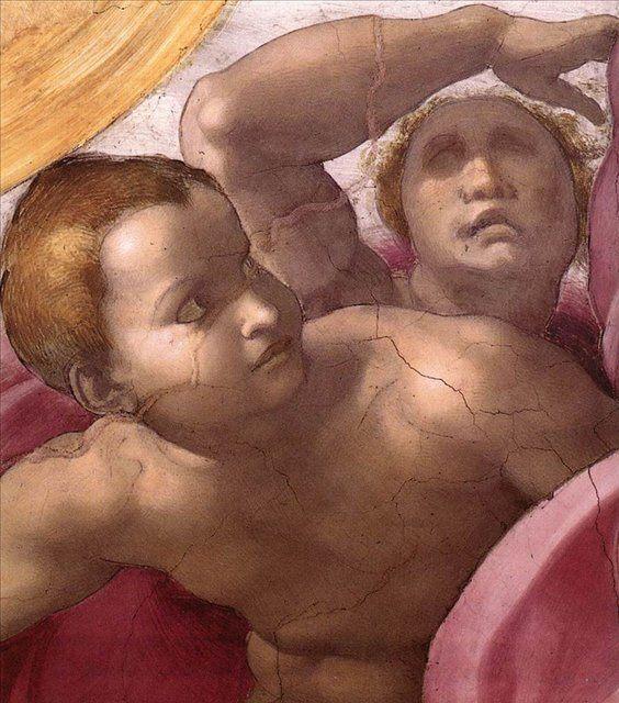 Сотворения солнца луны и планет - Деталь фрески  :: Микеланджело Буаноротти ( Италия ) - Фрески, монументальная живопись, роспись стен фото