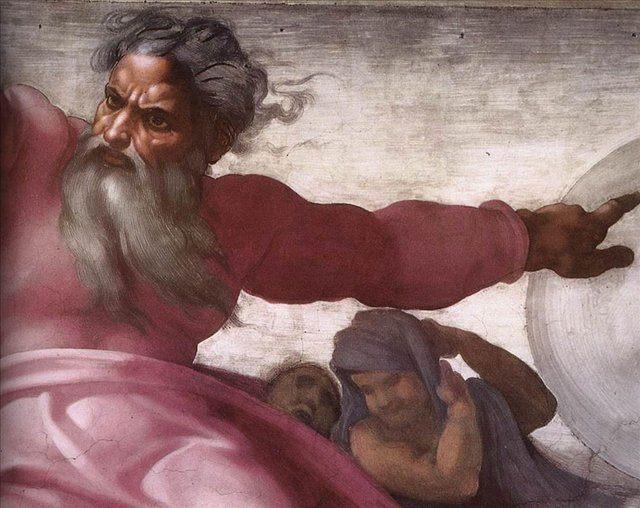 Сотворения солнца луны и планет -Деталь фрески  :: Микеланджело Буаноротти ( Италия ) - Фрески, монументальная живопись, роспись стен фото