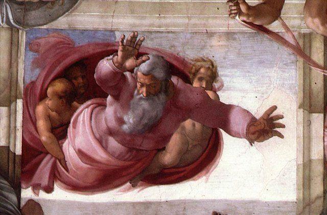 Отделение земли от воды ( деталь ) ::  [ fresco Separation of the Earth from the Waters (detail) by MICHELANGELO ] - Фрески, монументальная живопись, роспись стен фото
