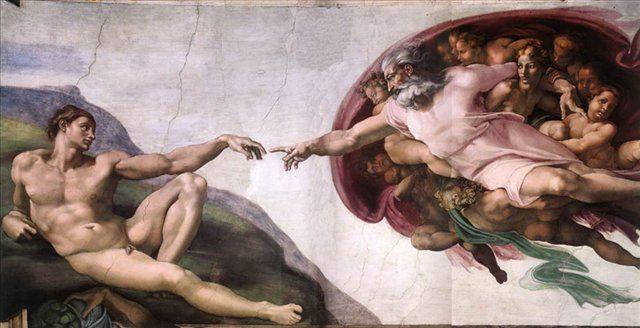Сотворение Адама :: Микеланджело Буаноротти ( Италия ) [ Creation of Adam, Cappella Sistina, Vatican, fresco ] - Фрески, монументальная живопись, роспись стен фото