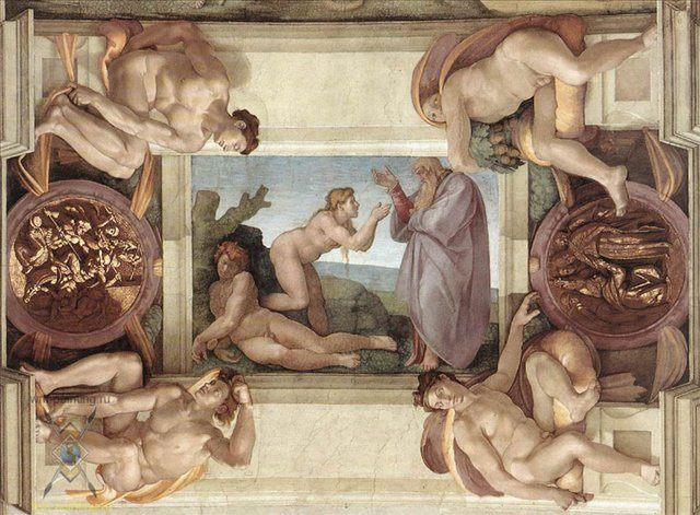 Сотворение Евы :: Микеланджело Буаноротти ( Италия )  [ Creation of Eve ] - Фрески, монументальная живопись, роспись стен фото