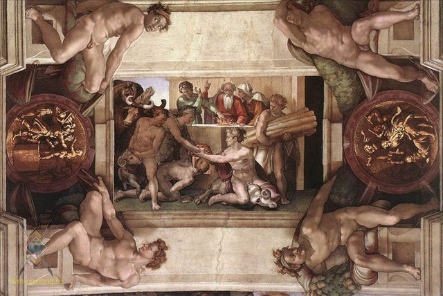 Жертвоприношение Ноя ::  Микеланджело Буаноротти ( Италия ) - Фрески, монументальная живопись, роспись стен фото