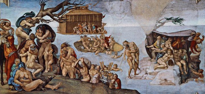 Фреска Потоп ( из Библейского цикла ) ::  Микеланджело Буаноротти ( Италия ) - Фрески, монументальная живопись, роспись стен фото