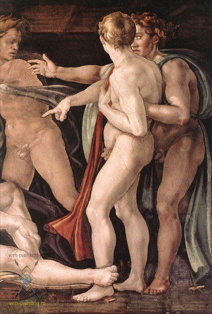 Опьянение Ноя ( деталь ) :: Микеланджело Буаноротти, фреска - Фрески, монументальная живопись, роспись стен фото