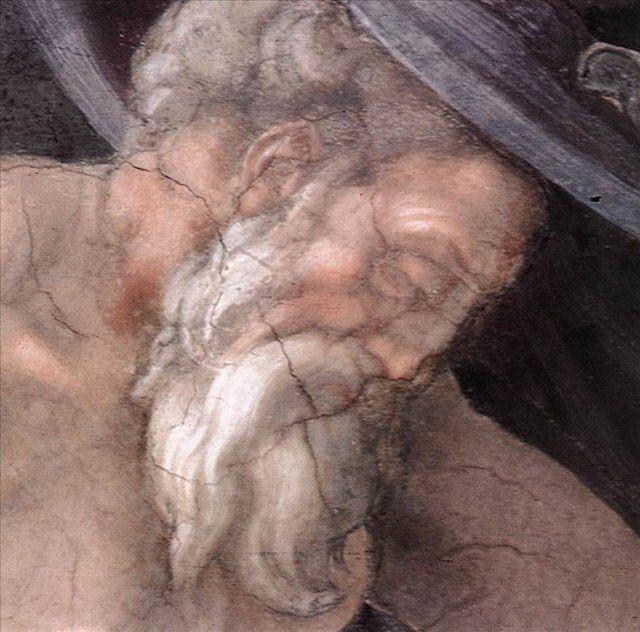 Опьянение Ноя ( деталь ) - голова Ноя :: Микеланджело Буаноротти - Фрески, монументальная живопись, роспись стен фото