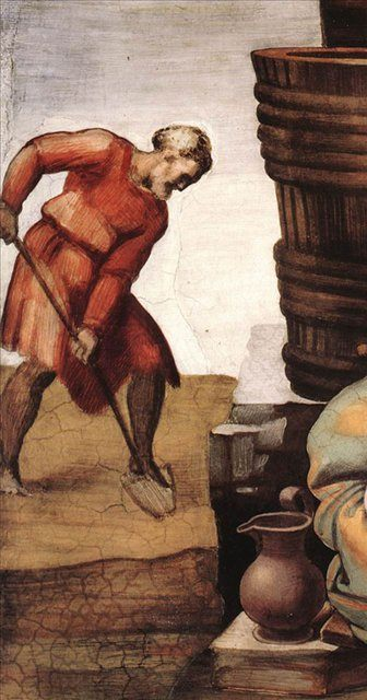 Опьянение Ноя ( деталь ) :: Микеланджело Буаноротти - Фрески, монументальная живопись, роспись стен фото