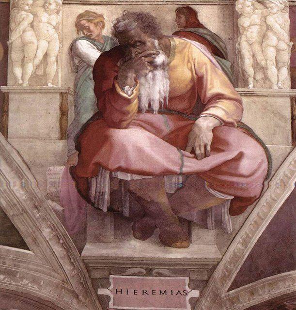 Иеремия ::  Микеланджело Буаноротти ( Италия ) - Фрески, монументальная живопись, роспись стен фото