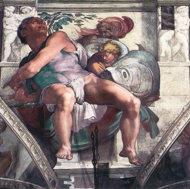 фрески Пророк Иона :: Микеланджело Буаноротти ( Италия ) - Фрески, монументальная живопись, роспись стен фото