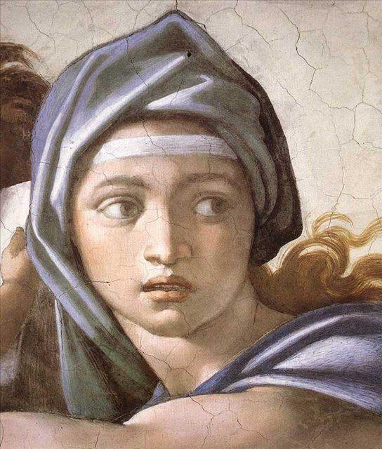 Дельфийская сивилла :: Микеланджело Буаноротти ( Италия ) [ The Delphic Sibyl (detail) ] - Фрески, монументальная живопись, роспись стен фото