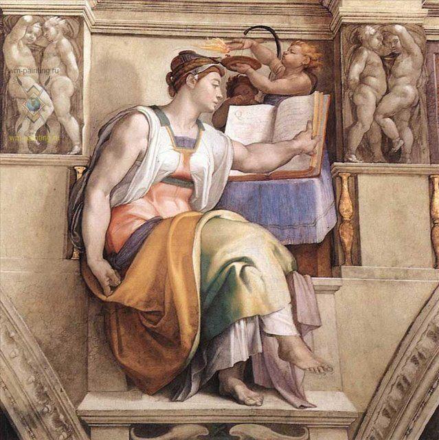 Эритрейская Сивилла :: Микеланджело Буаноротти ( Италия ) [ The Erythraean Sibyl ] - Фрески, монументальная живопись, роспись стен фото