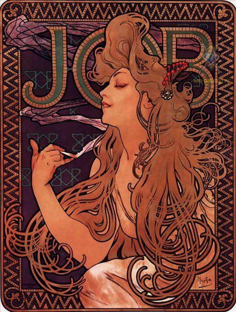 """Реклама папиросной бумаги """"JOB"""" :: Альфонс Муха ( Чехия, Франция ) - Alfons Maria Mucha фото"""