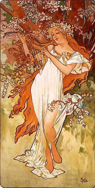 картина Весна ::  :: Альфонс Муха ( Чехия ) [ Alphonse Maria Mucha] - Alfons Maria Mucha фото