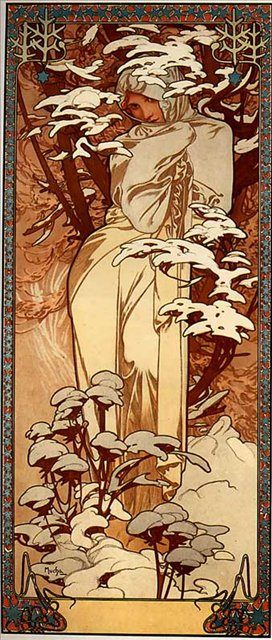 картина Зима :: Альфонс Муха ( Чехия ) [ Alphonse Maria Mucha, the czech artist ] - Alfons Maria Mucha фото