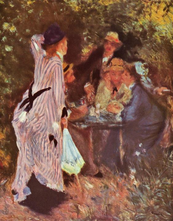 """В саду (Столик под деревьями в """"Мулен де ла Галетт"""") ::  Ренуар Пьер Огюст ( Франция ) - Pierre-Auguste Renoir фото"""