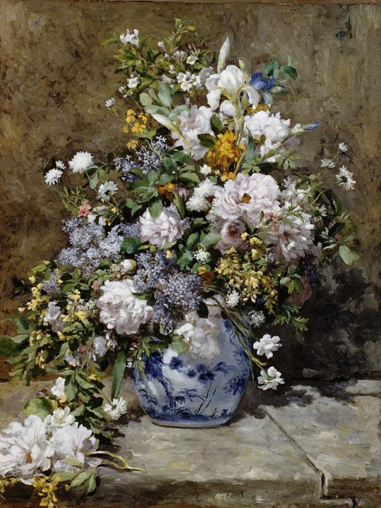 Натюрморт с большой цветочной вазой :: Ренуар Пьер Огюст - Pierre-Auguste Renoir фото