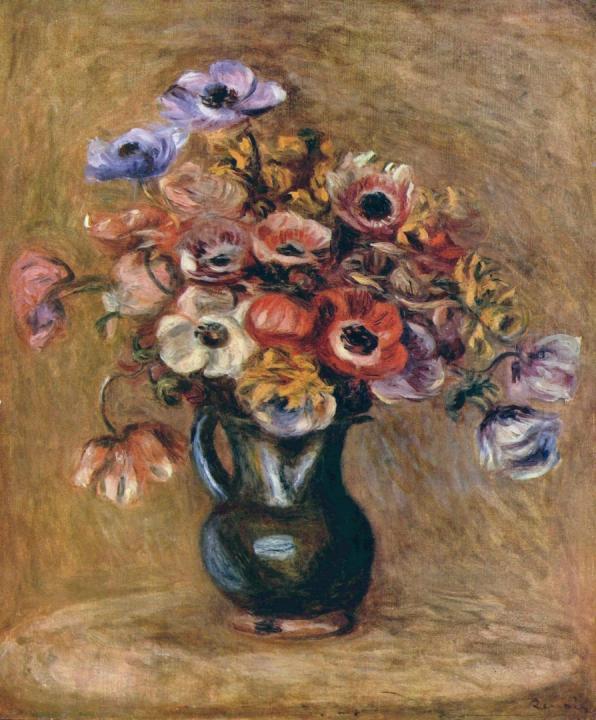 Натюрморт с анемонами ::  Ренуар Пьер Огюст ( Франция ) - Pierre-Auguste Renoir фото