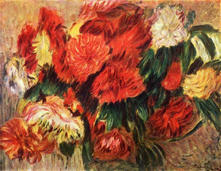Натюрморт с хризантемами :: Ренуар Пьер Огюст (Франция) - Pierre-Auguste Renoir фото