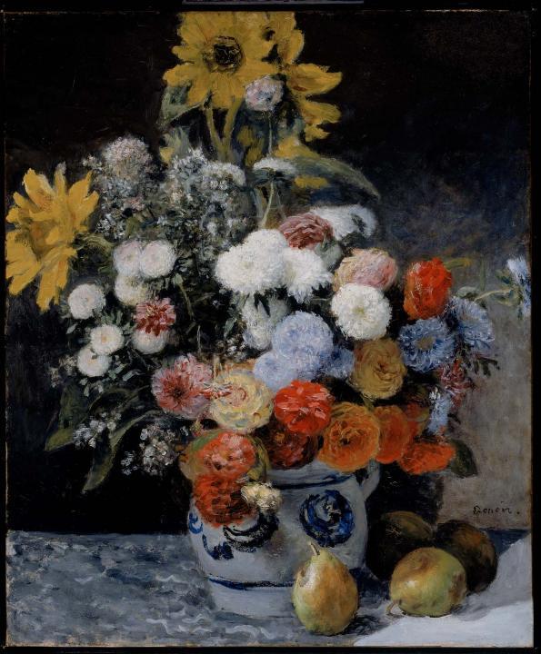 натюрморт Смесь цветов в глиняном горшке :: Ренуар Пьер Огюст (Франция) - Pierre-Auguste Renoir фото