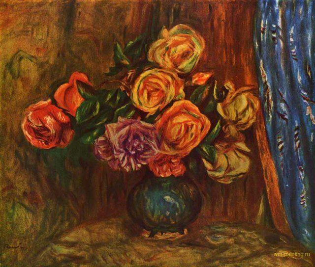 Натюрморт. Розы на фоне синего занавеса :: Ренуар Пьер Огюст ( Франция ) - Цветы и натюрморты - картины художников прошлых веков фото