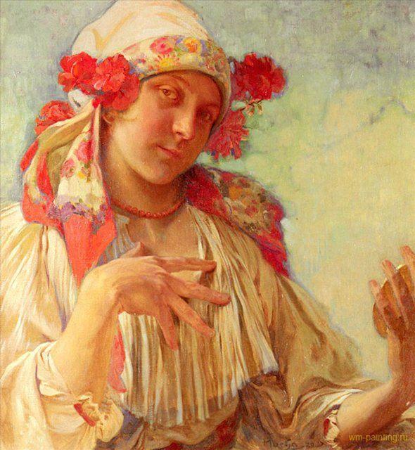 Юная девушка в моравском костюме :: Альфонс Муха ( Чехия, Чехословакия ) - Alfons Maria Mucha фото
