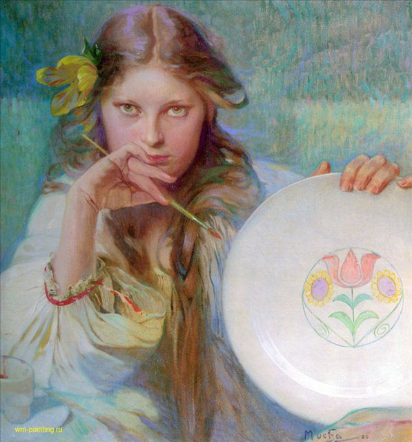 картина Художница :: Альфонс Муха ( Чехия, Чехословакия ) - Alfons Maria Mucha фото