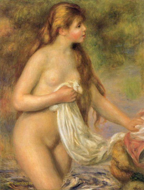 Купальщица с длинными волосами :: Ренуар Пьер Огюст ( Франция ) - Pierre-Auguste Renoir фото