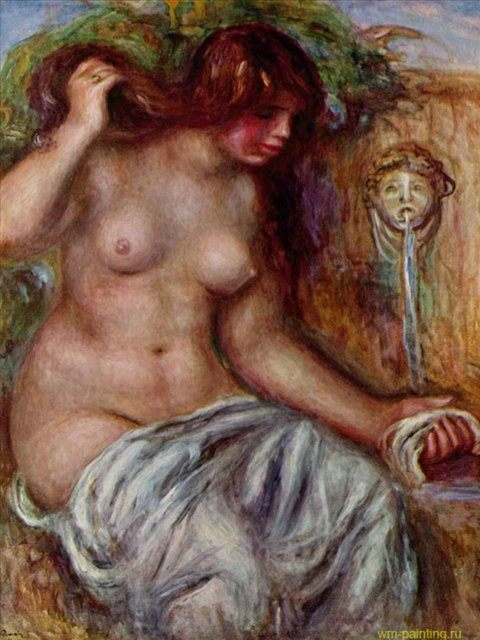 Женщина у источника ::  Ренуар Пьер Огюст ( Франция ) - Pierre-Auguste Renoir фото