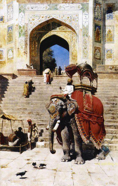 Королевский слон возле ворот Джанма Масидж  ::  лорд Едвин Викс - Архитектура фото
