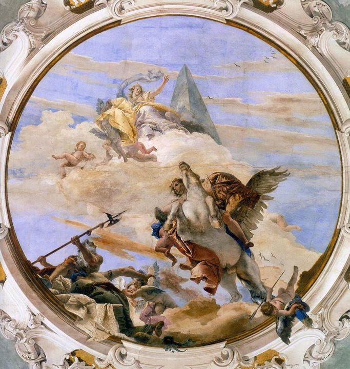 фрески Беллерофонт на Пегасе :: Джованни Баттиста Тьеполо ( Италия ) - Фрески, монументальная живопись, роспись стен фото