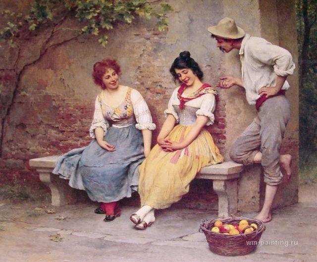 картина Заигрывания :: Э. де Блаас (Италия) - Романтические сюжеты в живописи фото