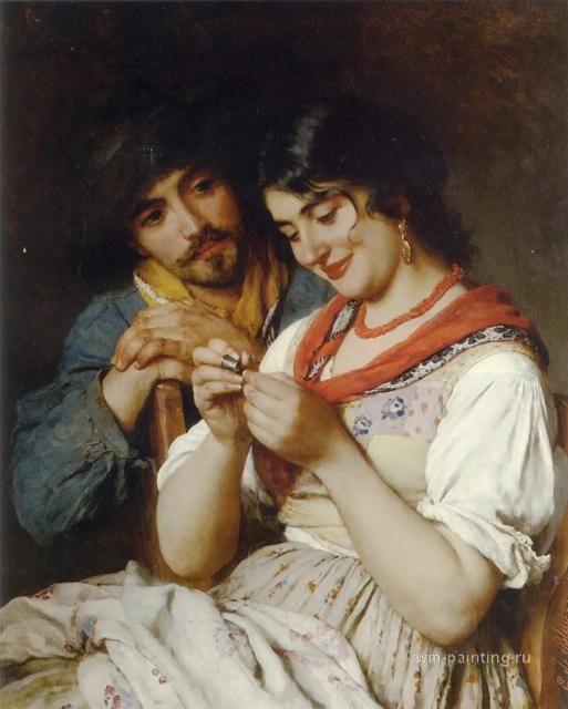 картина <Швея>  ::  Э. де Блаас (Италия) - Романтические сюжеты в живописи фото