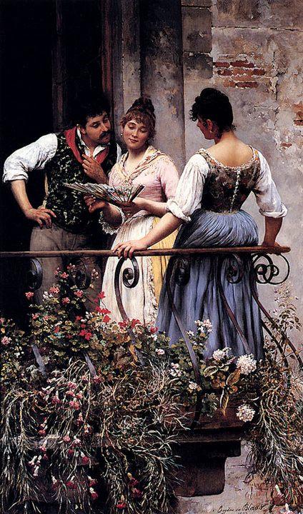 картина На балконе :: Эжен де Блаас ( Италия ) [ On The Balcony ,  Eugene de Blaas ] - Романтические сюжеты в живописи фото