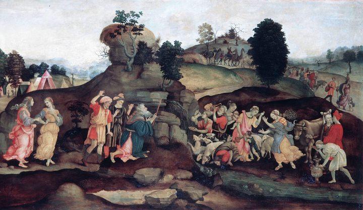картина Моисей, добывающий воду из скалы :: Филиппино Липпи - Библейские сюжеты в живописи фото