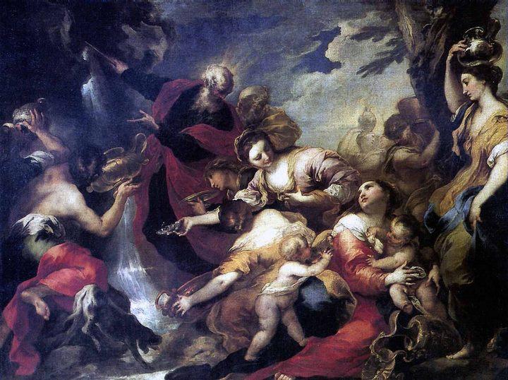 Моисей, рассекающий скалу :: Валерио Кастелло - Библейские сюжеты в живописи фото