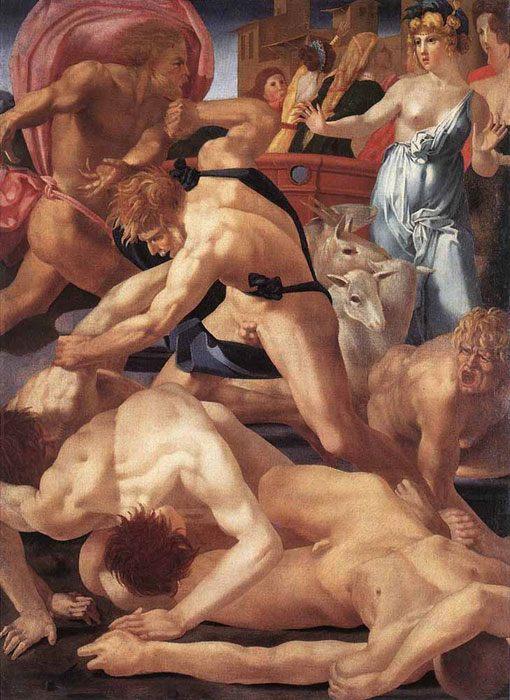 картина Моисей, защищающий дочерей Иофора :: Россо Фиорентино - Библейские сюжеты в живописи фото